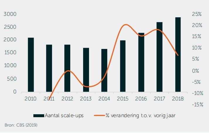 De groei van het aantal scaleups in Nederland.