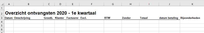 inkomsten bijhouden in Excel